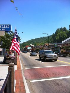 Downtown Gatlinburg Tennessee has the American flag flying several times a year to celebrate major holidays, thanks to the GatlinburgRotaryClub.com !