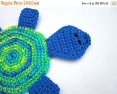 Turtle Pot Holder Hot Pad Crochet Trivet by by crochetedbycharlene
