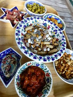Tapas, in hand-painted ceramics from Spain...