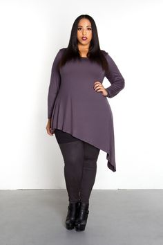 Domino Dollhouse - Plus Size Clothing: Edge Top in Pewter