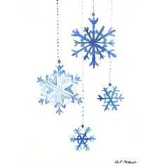 Original watercolor Christmas Card Snowflake ❤ liked on Polyvore featuring home, home decor, watercolor christmas card, christmas post card, thank you postcards and post card