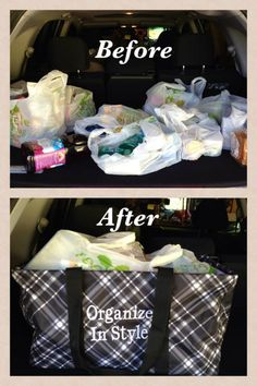 If you don't have one yet, you need a Large Utility Tote to use for your trunk organization. What a handy way to carry items into the house too!
