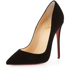 Christian Louboutin So Kate Suede Red Sole Pump ($715) ❤ liked on Polyvore featuring shoes, pumps, heels, sapatos, christian louboutin, black, pointed toe high heel pumps, black suede pumps, high heel pumps and christian louboutin pumps