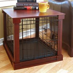 Merry Products End Table Pet Crate with Cage Cover - Now this makes a lot of sense: a dog crate discreetly housed within a stylish side table! The Merry Products End Table Pet Crate with Cage Cover has a...
