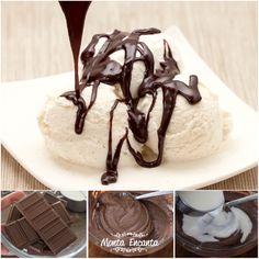 Seu sorvete, nunca mais será o mesmo depois desta CALDA DE SORVETE DE CHOCOLATE, CASEIRA! Só 2 ingredientes, feita no micro ondas e pronta em 1 min. top, top! http://www.montaencanta.com.br/sem-categoria/calda-de-sorvete-de-chocolate/