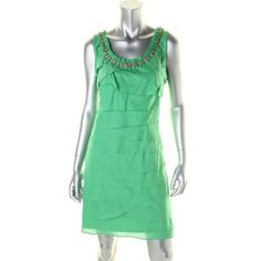 SL FASHIONS NEW Green Cotton Sleeveless Knee-Length Casual Dress 10 BHFO #SLFashions #CasualDress