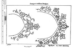 """Indian Saree / Sari Neckline Collar Embroidery Pattern - From """"Design for Needle Work"""" by Zahoor-ul-Haq, circa 1930"""