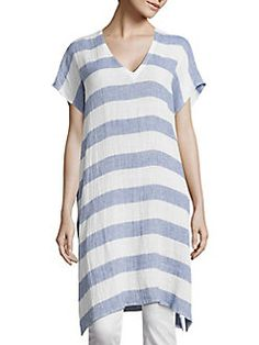 Eileen Fisher - Long Striped Linen Tunic