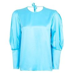 Topshop Statement Sleeve Sandwash Satin Blouse (£75) ❤ liked on Polyvore featuring tops, blouses, blue satin blouse, topshop tops, blue blouse, satin top and sleeve blouse
