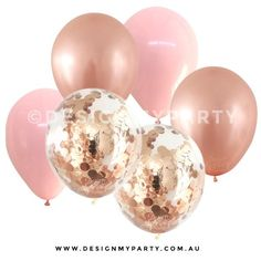Rose Gold & Pink Confetti Balloons