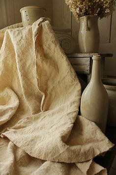 Rustic dark toned hemp antique french linen sheet