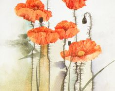 Red Poppies original watercolor painting / mixed by FluidColors