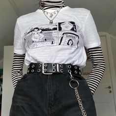 ropa rockera Women's clothes simple casual print T-shirt Fashion Star, Egirl Fashion, Grunge Fashion, Classy Fashion, Fashion Vintage, Modest Fashion, Street Fashion, Spring Fashion, Fashion Jewelry