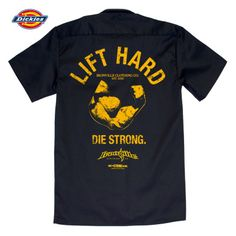 Lift Hard Die Strong Casual Button Down Bodybuilder Shop Shirt Black