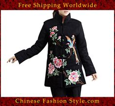 100% Handmade Pure Linen Blouse Shirt Top - Oriental Chinese Embroidery Art #138 http://www.chinesefashionstyle.com/jackets-blouses/