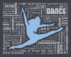 """Original artwork using words to describe """"DANCE"""" -- Dress up a room in your home with this dance-themed print that details the many words for all things related to our love of dancing. Color options available. To have a distinction from other subway art my goal is to showcase at least 50 words (though often times this can be over 100) without repeating except with common words like first position versus fourth position. Come visit the Lexicon Delight Etsy store!"""