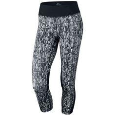 Nike Racer Dri-fit Printed Capri Leggings (€41) ❤ liked on Polyvore featuring activewear, activewear pants, bottoms, pants, workout, leggings, black, nike activewear, nike and nike activewear pants