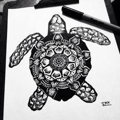 Tartaruga zentangle/ Zentangle Turtle. Draw, ink, tattoo