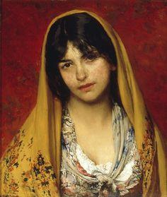 Young Girl with Veil, Eugene de Blaas
