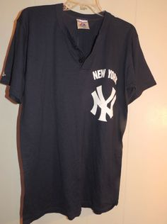 Men's Official Majestic M Navy Cotton Knit New York Yankees Short Sleeve T-Shirt #Majestic #GraphicTee