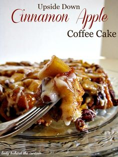 Lady Behind The Curtain - Upside Down Cinnamon Apple Coffee Cake. So easy to make that by the time your oven is at temp, the cake is ready to go in!yum