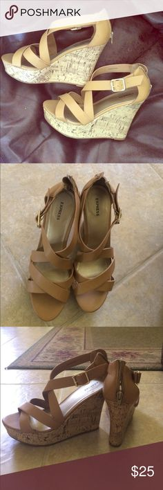 Express Strappy Tan wedges 8 Express Wedges worn once, like-new. Size 8 Express Shoes Wedges