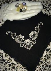 Black Mourning Handkerchief White Hearts and Swirls Rosebuds Scalloped