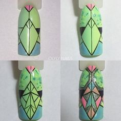Cute Nail Art Ideas to Try - Nailschick Natural Nail Art, Nailart, Nail Art Techniques, Geometric Nail Art, Modern Nails, Nails Only, Dope Nails, Nail Manicure, Manicure Steps