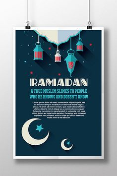 Semi-flat Moon and Star Ramadan Poster Company Brochure, Brochure Design, Ramadan Poster, New Poster, Festival Posters, Watercolor Bird, Sign Design, Travel Posters