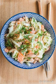 Fennel Salad with Two Salmon and Dill – Food for Love - Metarnews Sites Healthy Recepies, Healthy Soup Recipes, Healthy Cooking, Bean Salad Recipes, Salad Dressing Recipes, Dill Salmon, Lean Cuisine, Fennel Salad, Fun Easy Recipes