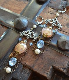 Assemblage chandelier earrings with Swarovski crystals by Purrrls