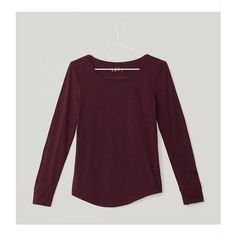 LOFT Long Sleeve Cotton Tee ($25) ❤ liked on Polyvore featuring tops, t-shirts, victorian violet, loft tops, long sleeve layering tee, purple top, long sleeve cotton tops and longsleeve t shirts