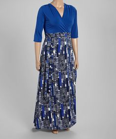 This Blue Abstract Empire-Waist Maxi Dress - Plus by GLAM is perfect! #zulilyfinds