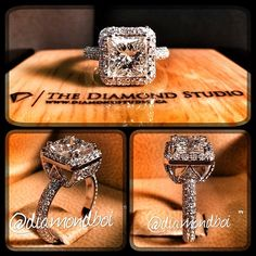 """This is definately my kind if ring!!!!!!!! How amazing is my latest """"WOW"""" ring. This design was made with a 1.50ct princess cut on a pave halo. The shank also features diamonds in a pave setting. The fancy under gallery also has diamonds set all around it. You all loving this new design? This is what I do! #diamond #diamonds #wedding #weddings #engagementring #ring #rings #bride #brides #jewellery #jewelry #halo #love #wow #thediamondstudio"""