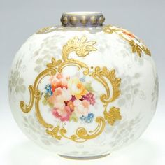 Crown Milano vase, floral, scrolls, 6 on LiveAuctioneers Colored Cookies, Holiday Sales, Holiday Decor, Colored Glass Vases, Royal Crown Derby, Antique Art, Antique Vases, Gold Ornaments, Japanese Porcelain
