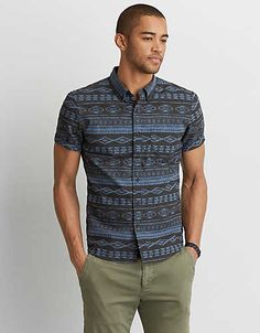 AEO Print Short Sleeve Shirt , Navy | American Eagle Outfitters