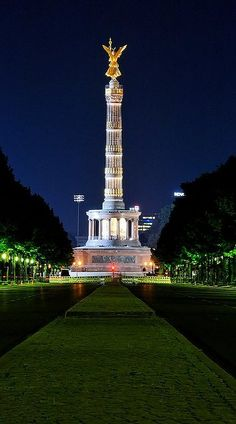 "Victory Column.. Berlin at night. Germany -Amazing bucket lists created by local experts in ""City is Yours"" http://www.cityisyours.com/explore. #list #local"