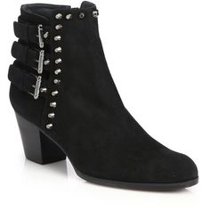 Stuart Weitzman Kickstart Studded Suede Booties ($445) ❤ liked on Polyvore featuring shoes, boots, ankle booties, apparel & accessories, black, studded booties, short black boots, black ankle booties, suede booties and black suede boots