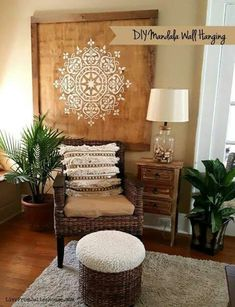 DIY Mandala Wall Hanging - Want to add a dramatic boho style piece of art to your walls without breaking the bank? Check out my DIY Mandala Wall Hanging tutorial. DIY Wall Decor to Decorate Your Space Diy Wand, Boho Diy, Boho Decor, Bohemian Decorating, Decorating Ideas, Decor Ideas, Diy Wall Decorations, Burlap Wall Decor, Wall Decor Crafts