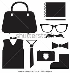 Hipster set - vector illustration, can be used for vintage/retro projects, background, card, web design by oxanaart, via Shutterstock
