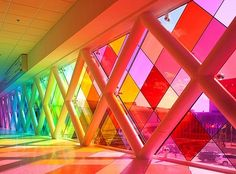 Rainbow stained glass at Miami International Airport in Florida