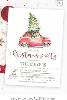 Christmas Party Invitation Template, Christmas Party Invitations, Adult Christmas Party, Holiday Parties, Xmas, Company Party, Host A Party, Nightmare Before Christmas, Truck