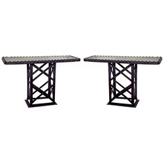 Pair of Industrial Metal Console Tables
