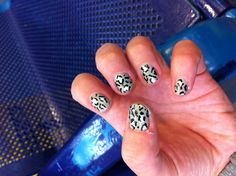 Leopard Nails: Model's Own Cement Mixer, Barry M Silver Foil Effects and Wah Nail Art Pen