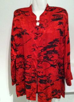 CHICOS DESIGNS Boho Silk Red Black Asian Frog Closure Tunic Top 40 Bust Size M/S