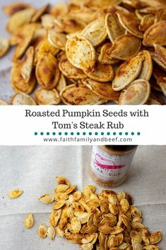 Roasted Pumpkin Seeds with Tom's Steak Rub - a delicious way to re-purpose the seeds from your Halloween pumpkin decor! Beef Salad Sandwiches, Vegan Sandwiches, Chicken Sandwich, Roasted Pumpkin Seeds, Roast Pumpkin, Snack Recipes, Snacks, Tofu Recipes, Sandwich Recipes
