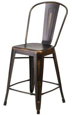"24"" Brown Modern Metal Counter Height Stool Bar Kitchen Dining High Bistro Chair #FlashFurniture #ModernRusticContemporaryMidCentury"
