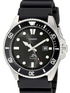 The Casio MDV-106-1A is a great looking watch, combined with a radiant black dial with luminous hands and hour markers. Comes in a smart looking 44mm stainless steel case with aresin band with a buckle closure.