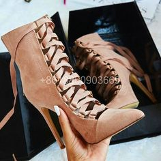 98.00$  Watch here - http://alir9y.worldwells.pw/go.php?t=32778358814 - 2017 autunm&spring shoes  ankle boots for women high heels lace up pointed toe booties nude bottes femmes 98.00$