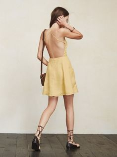 Fresh linens for summer. The Aurora Dress is cute, easy, and shows just the right amount of skin. https://www.thereformation.com/products/aurora-dress-maize?utm_source=pinterest&utm_medium=organic&utm_campaign=PinterestOwnedPins